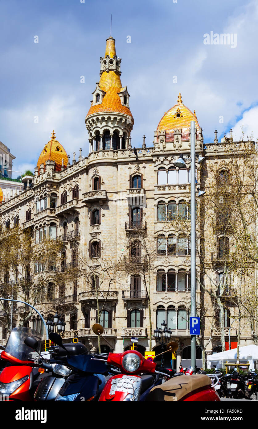 Pons houses, built in 1890–1891 by architect Enric Sagnier. Barcelona, Spain - Stock Image