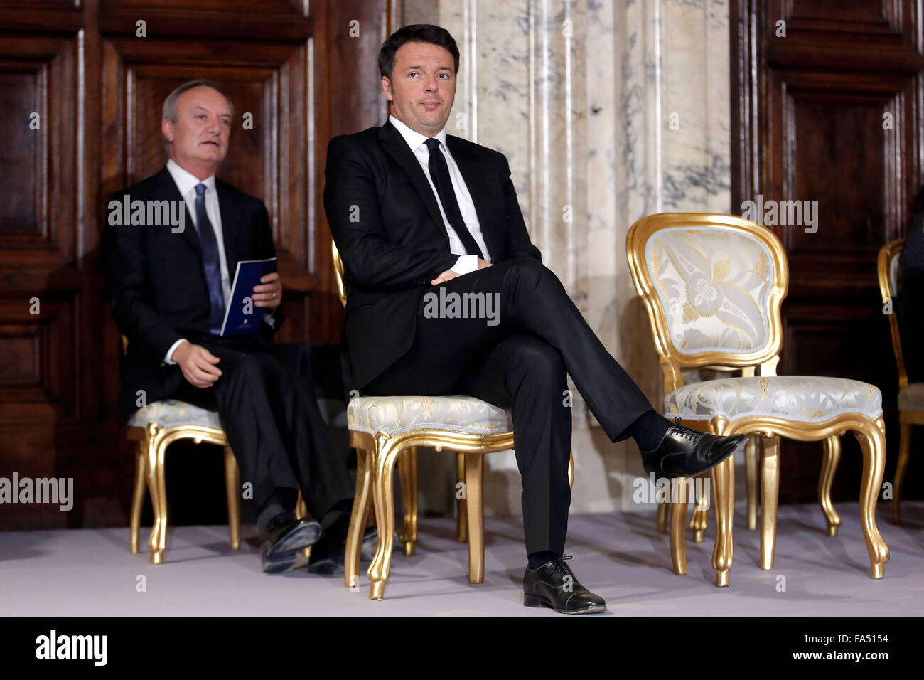 Rome, Italy. 21st December, 2015. Matteo Renzi Rome 21ht December 2015 Quirinale, Cerimony for End of Year wishes - Stock Image