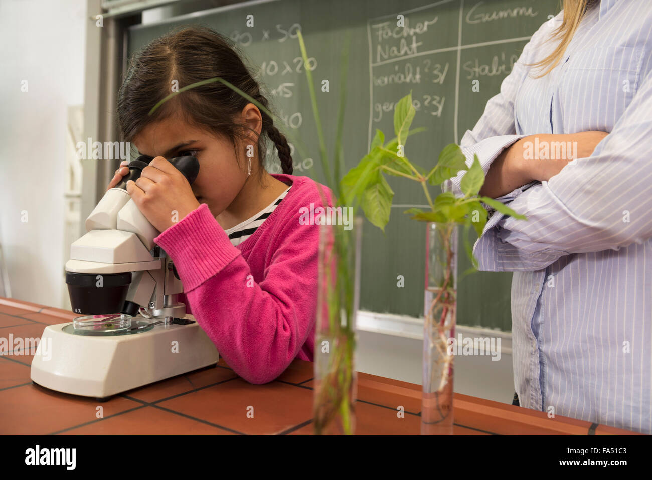 School girl with teacher looking through a microscope, Fürstenfeldbruck, Bavaria, Germany - Stock Image