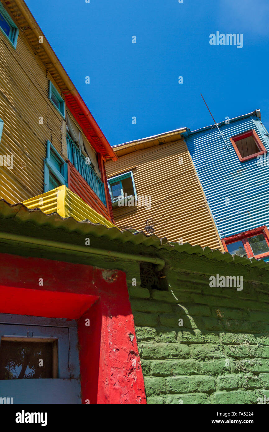 Windows of vibrant corrugated houses in La Boca, Buenos Aires, Argentina - Stock Image