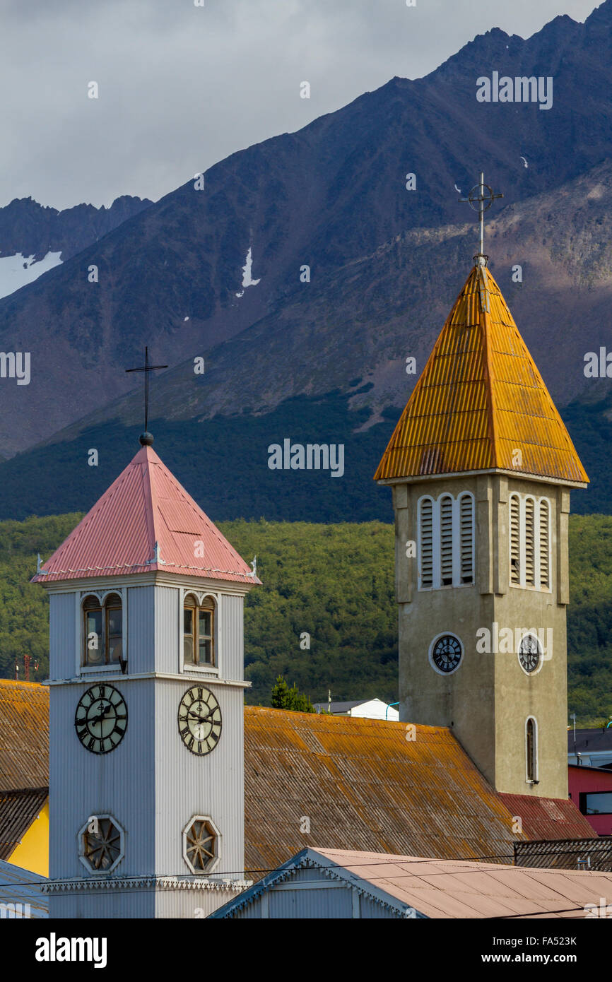 Colourful clock towers on churches in Ushuaia, Argentina - Stock Image