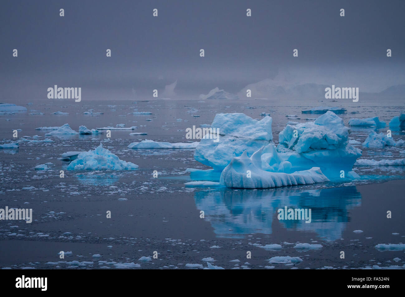 Beautiful and shapely icebergs on a calm Antarctic Ocean, set off vibrantly against the moody sky, Antarctica. - Stock Image