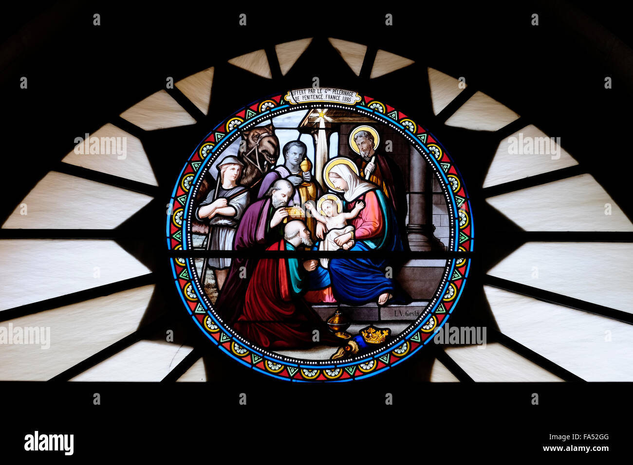Decorated glass work depicting nativity scene inside the Church or Chapel of Saint Catherine located adjacent to Stock Photo