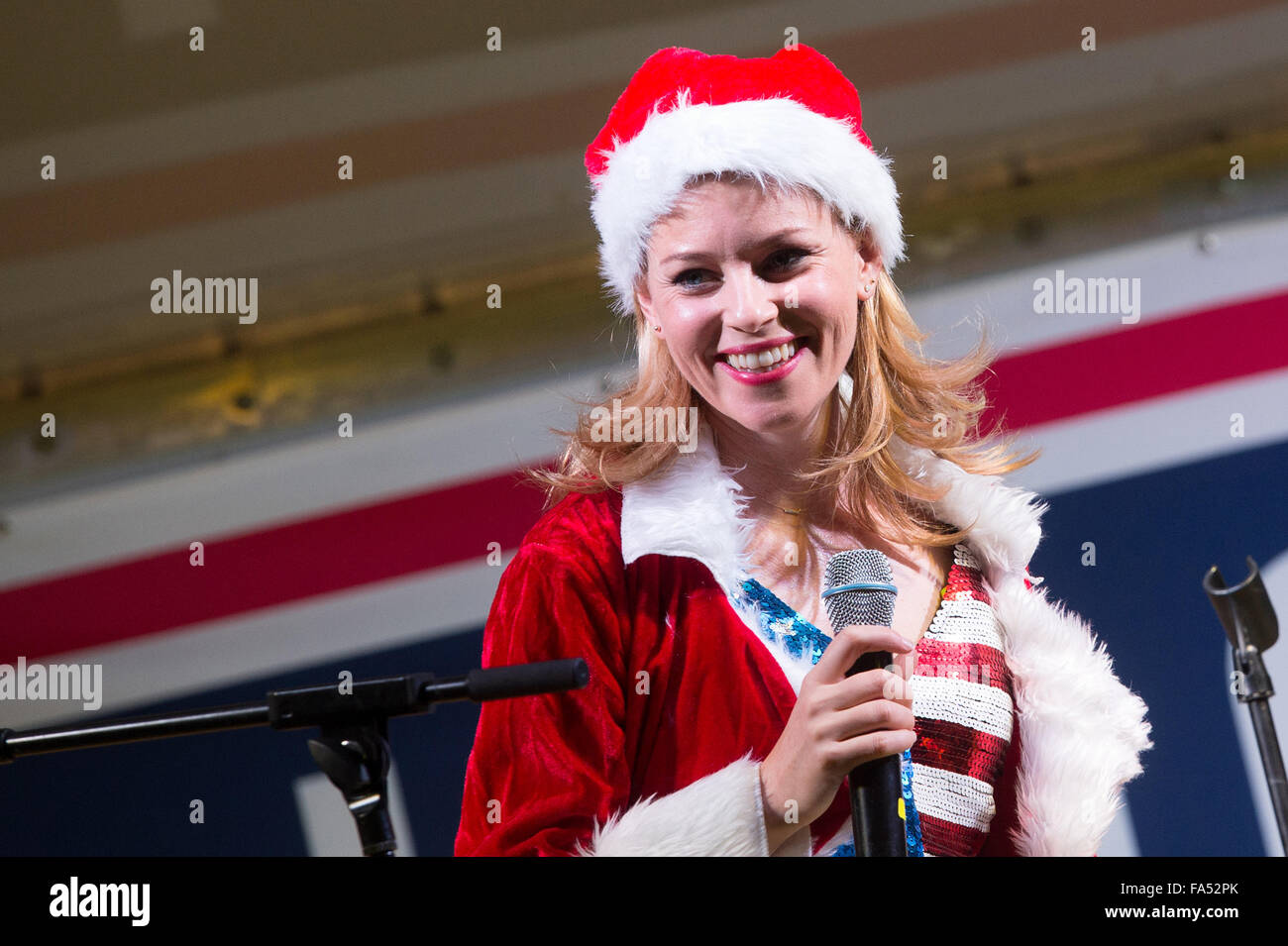 Actress Elizabeth Banks host a USO Christmas show for military personnel deployed to Camp Lemonnier December 6, Stock Photo