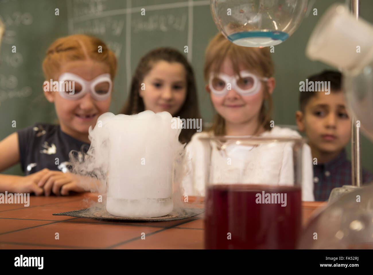 Elementary students doing experiment with reeky liquid in chemistry class, Fürstenfeldbruck, Bavaria, Germany - Stock Image