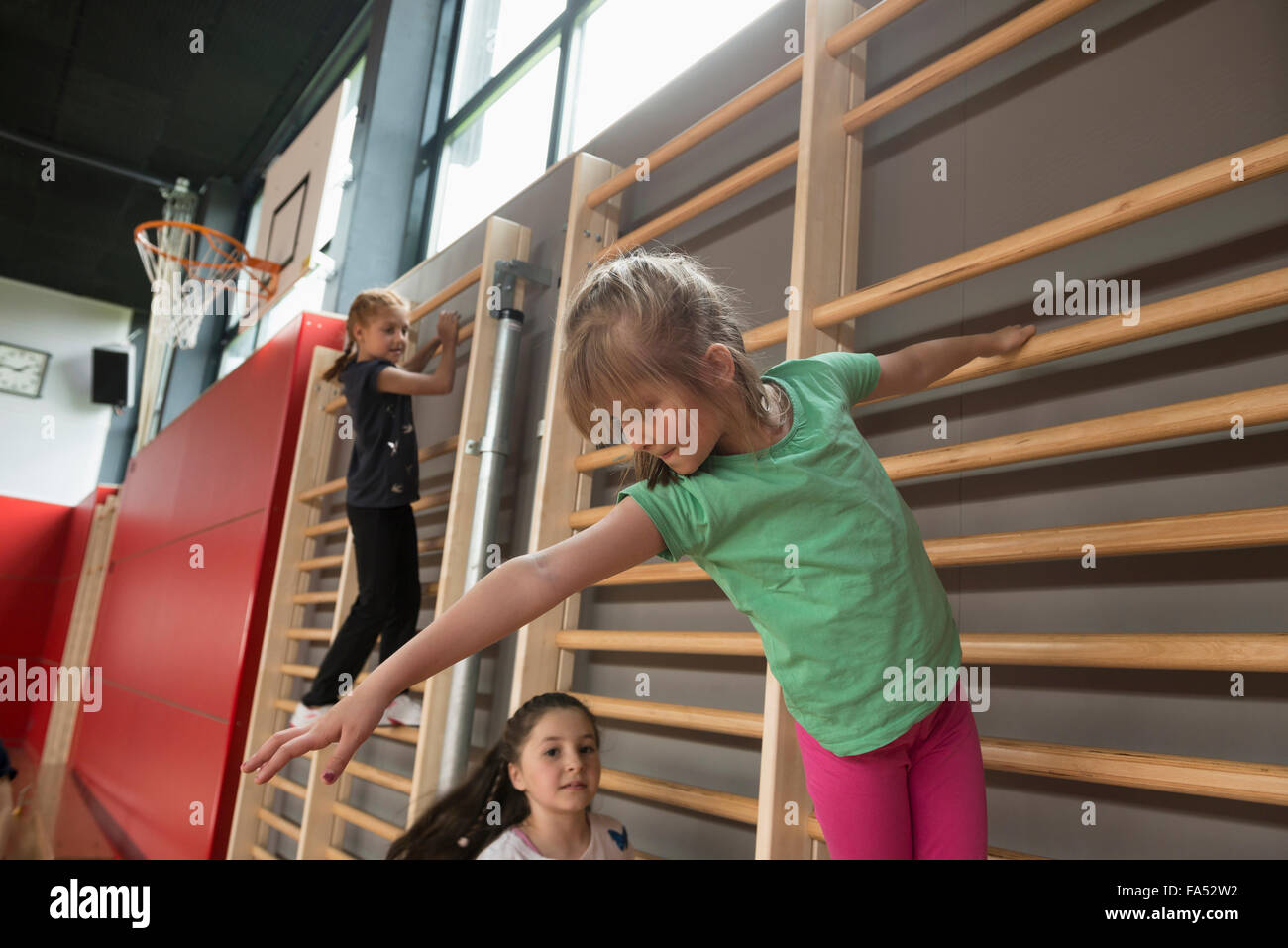 Three girls exercising on wall bars in large gym, Munich, Bavaria, Germany - Stock Image
