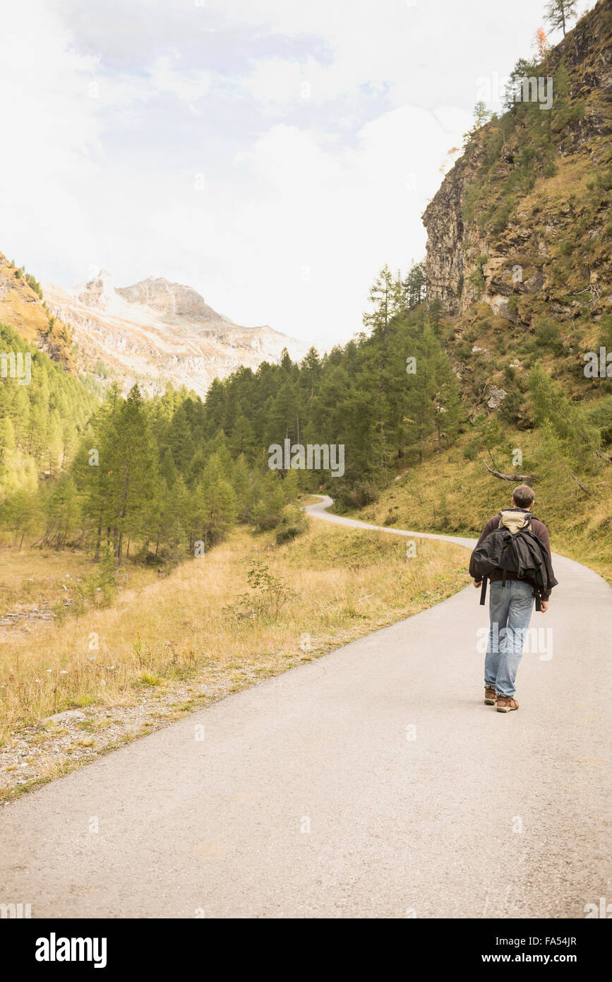 Rear view of a mature hiker walking on mountain road, Austrian Alps, Carinthia, Austria - Stock Image