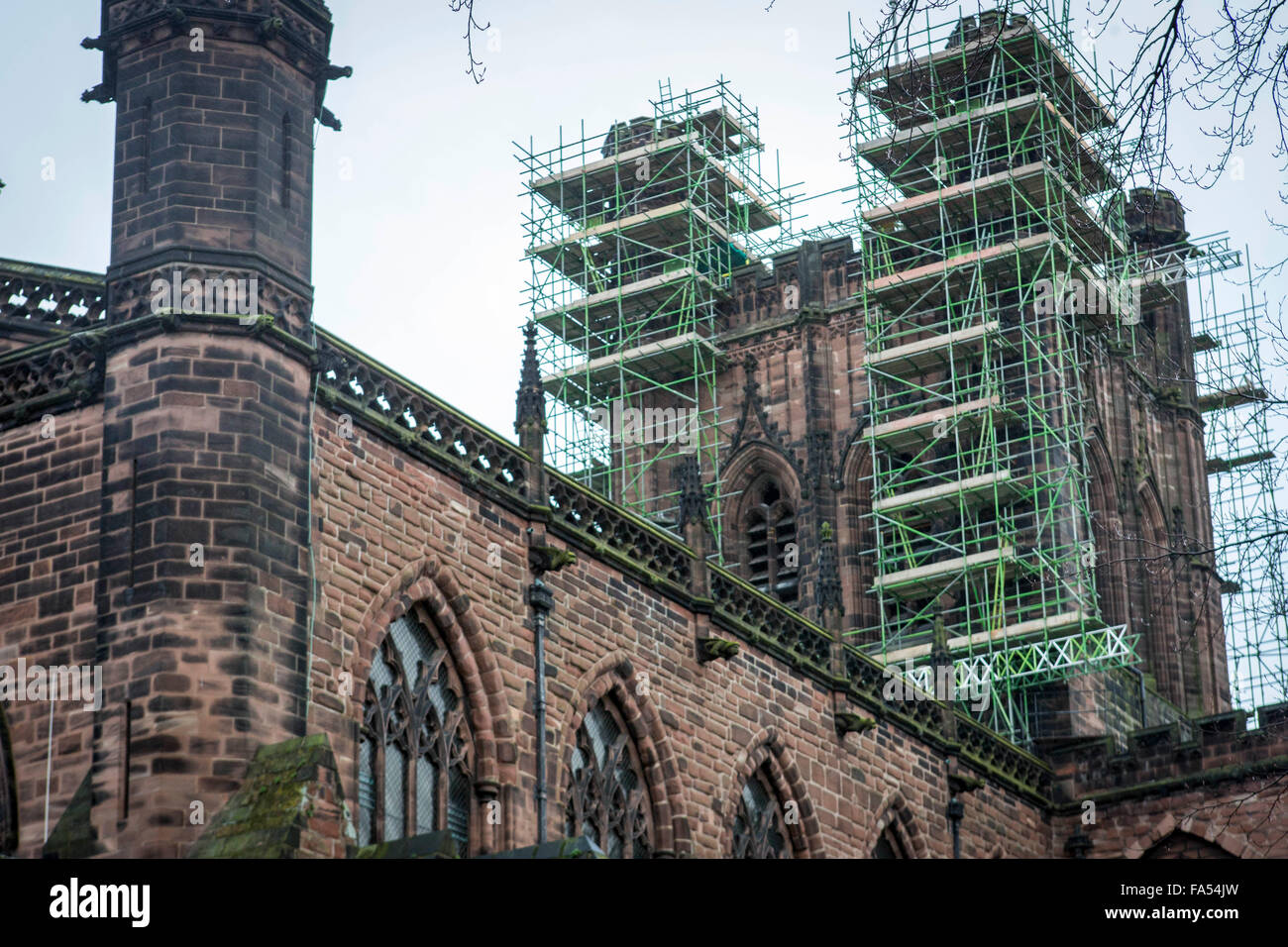 exterior photo of Chester Cathedral including scaffolding - Stock Image