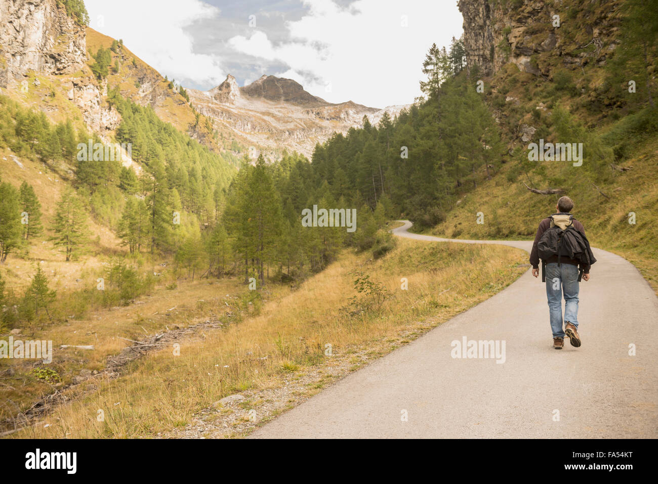 Rear view of mature hiker walking on road, Austrian Alps, Carinthia, Austria - Stock Image
