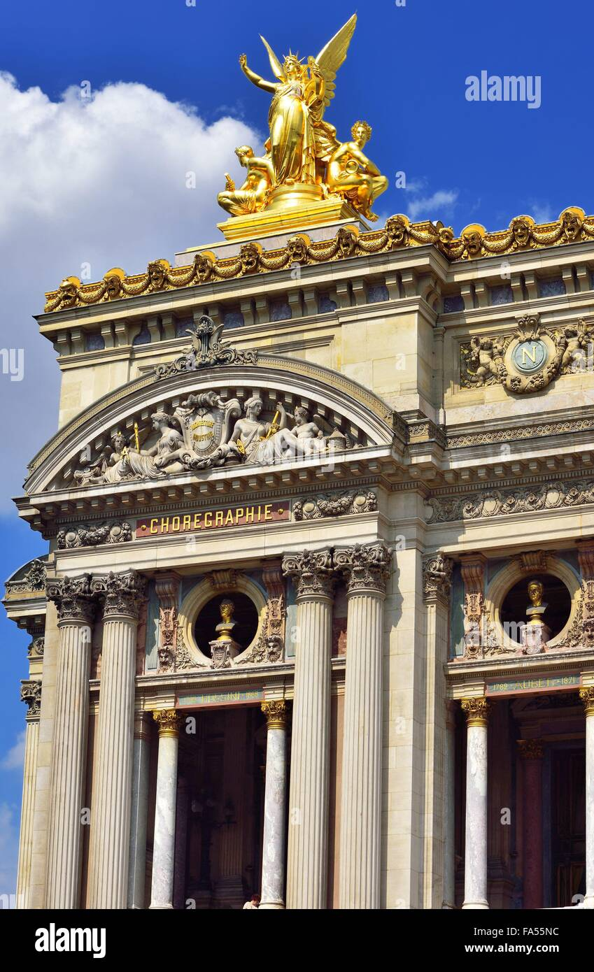Facade with columns and gilded statue, Opera Garnier, Paris, Ile De Fance, France - Stock Image