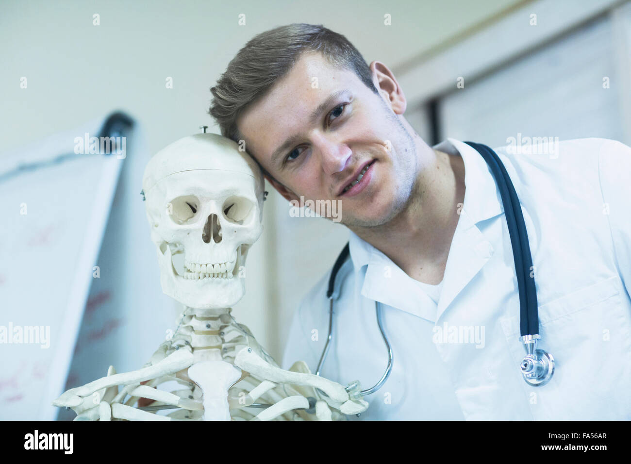 Portrait of a young doctor with skeleton in doctor's office, Freiburg Im Breisgau, Baden-Württemberg, Germany - Stock Image