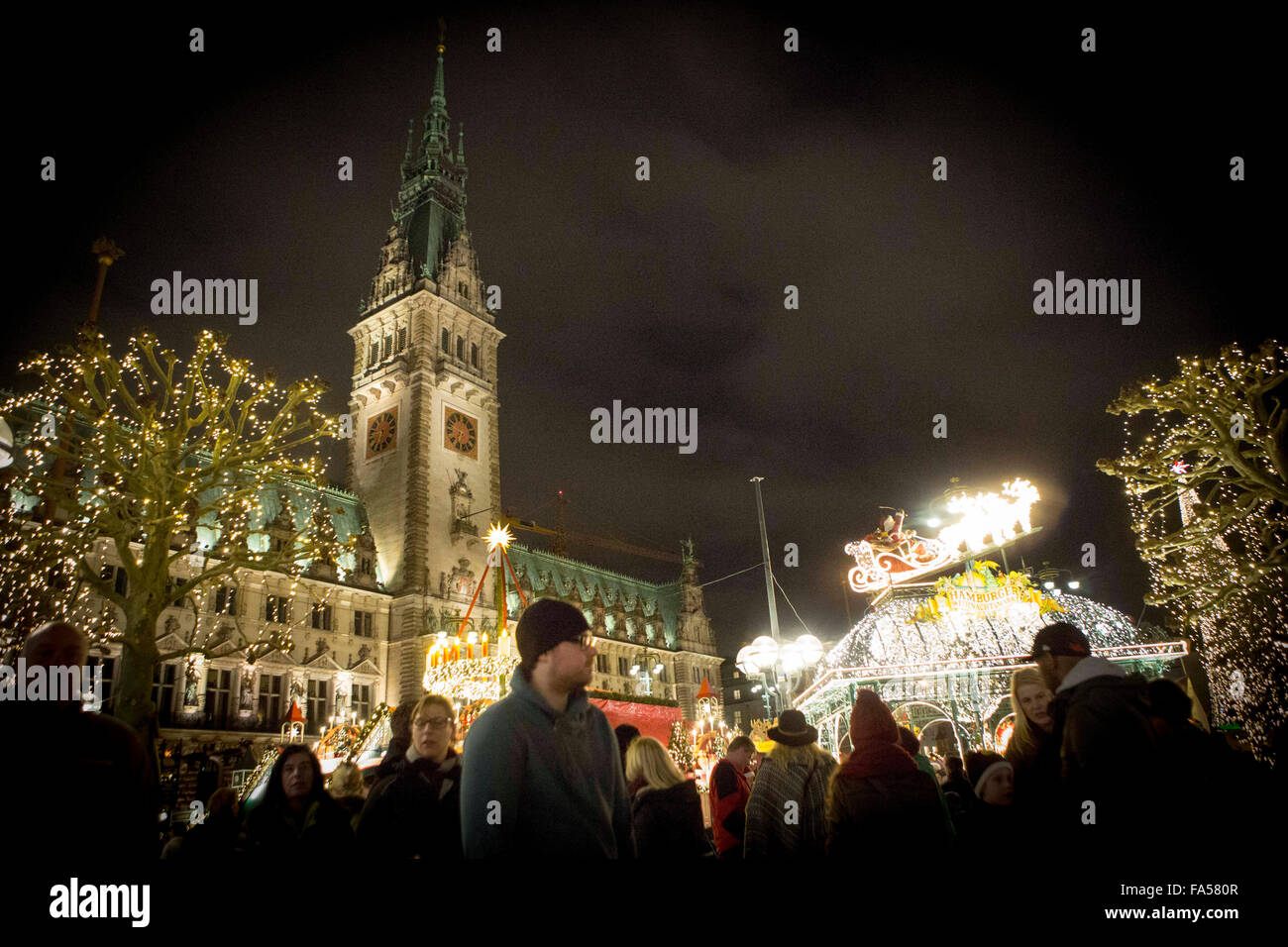Christmas market in Hamburg , Germany - Stock Image