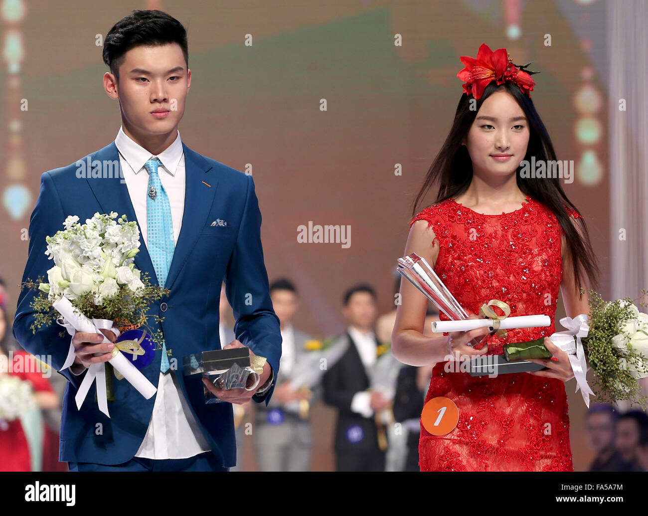 Beijing, China. 21st Dec, 2015. Winners are seen at the finals of 2015 Stellar New Face International Model Contest - Stock Image