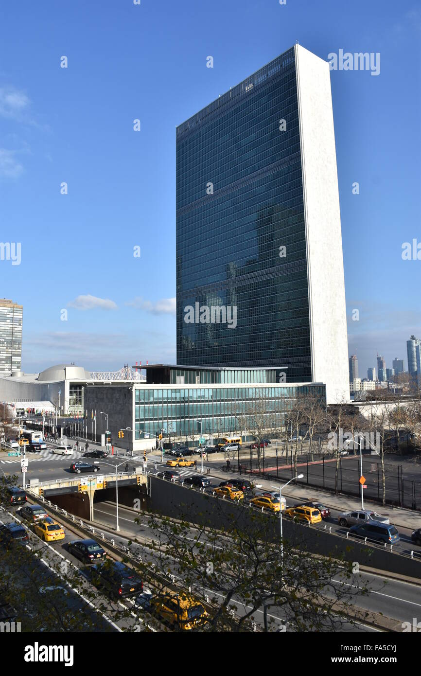 New York, USA. 08th Dec, 2015. The headquarters of the United Nations in New York, USA, 08 December 2015. Photo: - Stock Image
