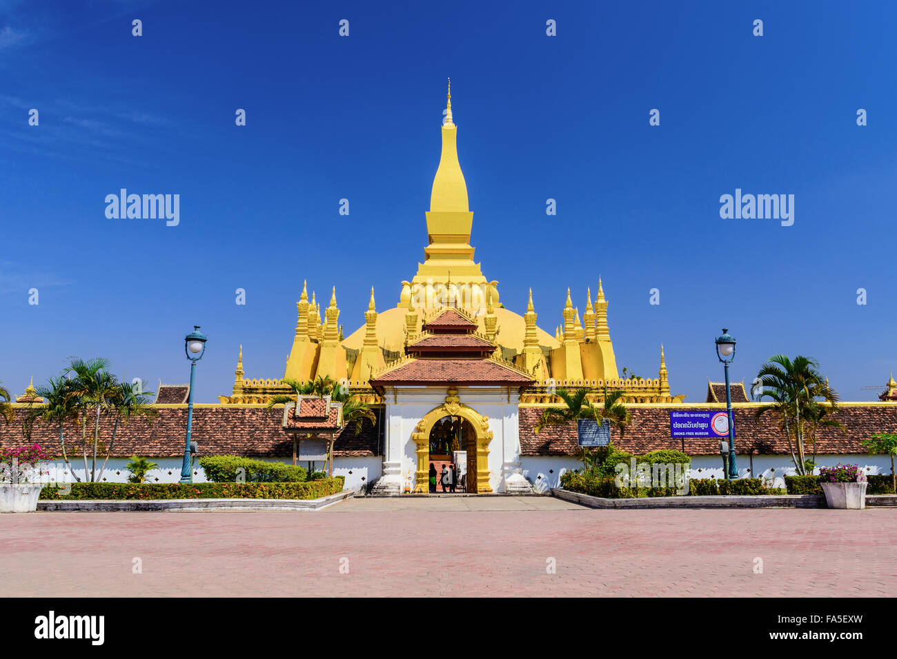 Landmark of Vientiane, Laos Phra That Luang front view in day light. - Stock Image