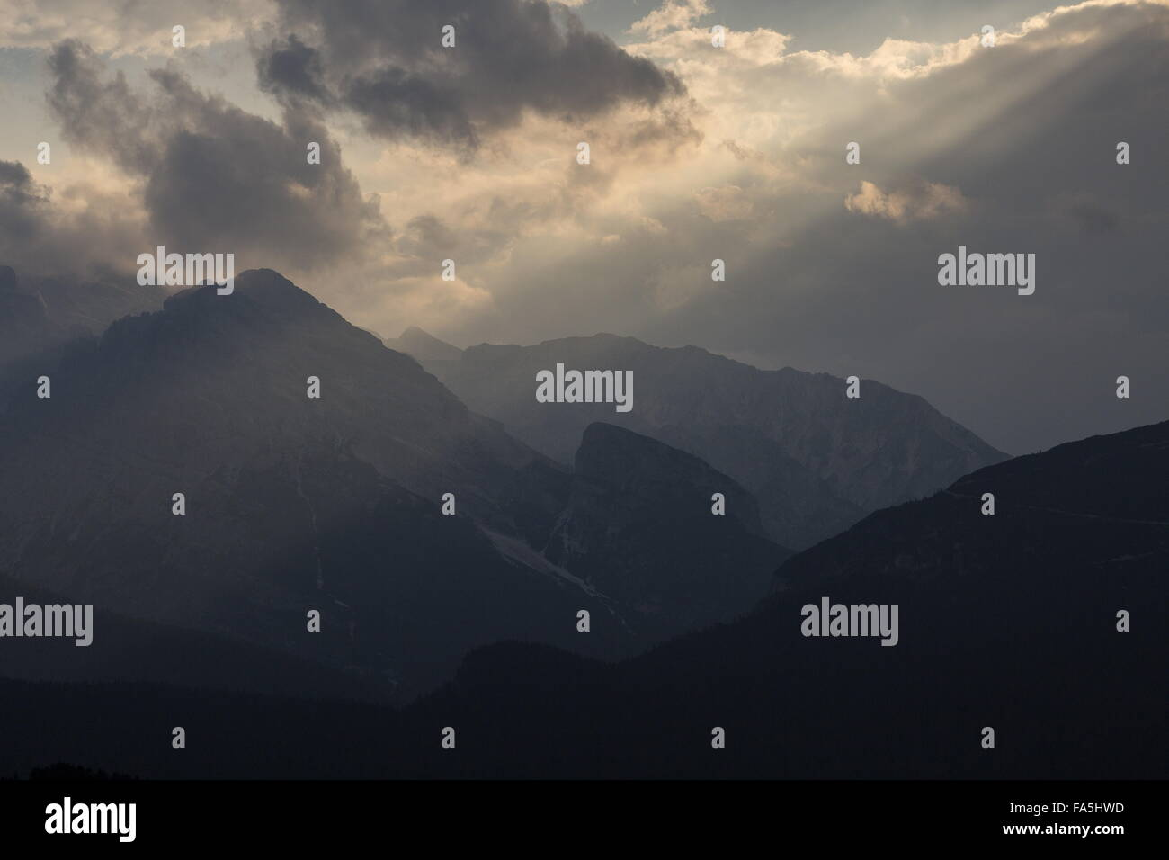 Stormy evening in the north-east Dolomites, from Tre Cime; Dolomites, Italy - Stock Image