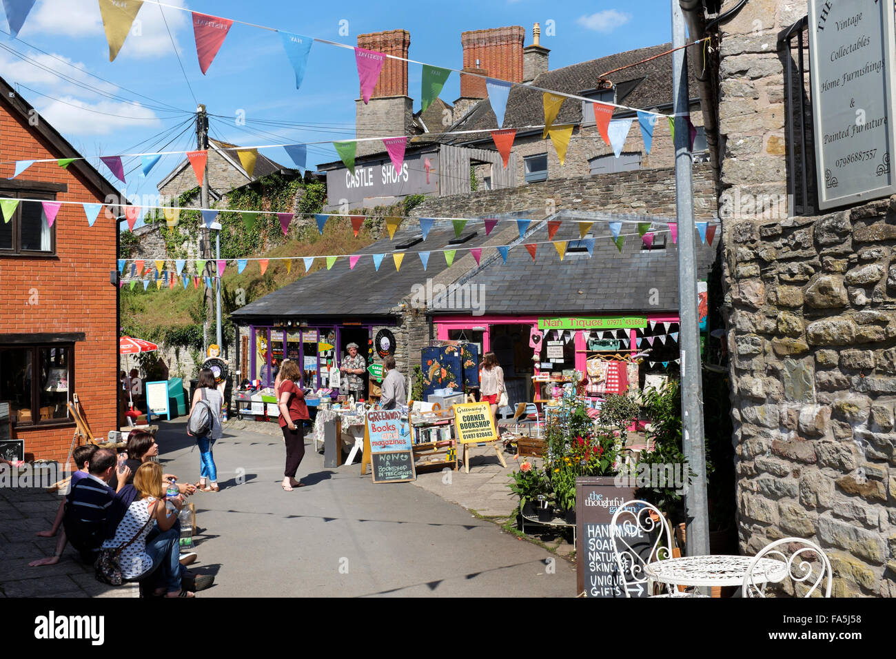 Bookshops and antique shops in Hay-on-Wye, Powys, Wales: town of books. - Stock Image