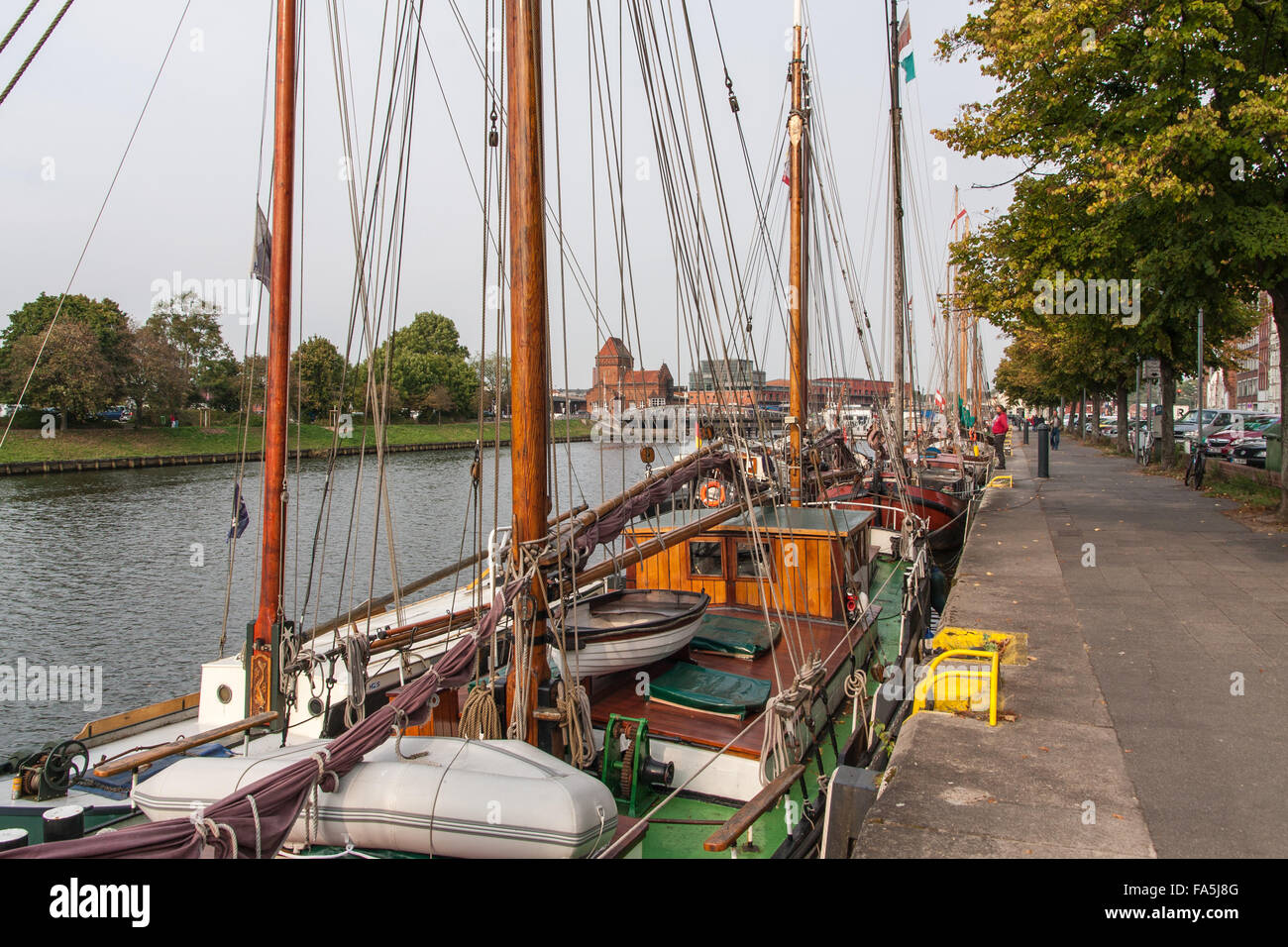 Boats on Trave in Lübeck - Stock Image