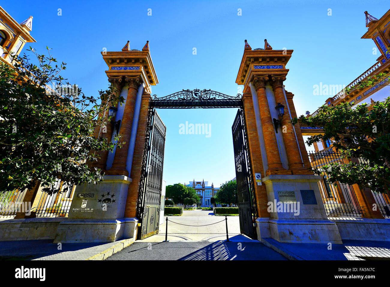 Malaga Spain Automovilistico De Malaga entrance gates - Stock Image
