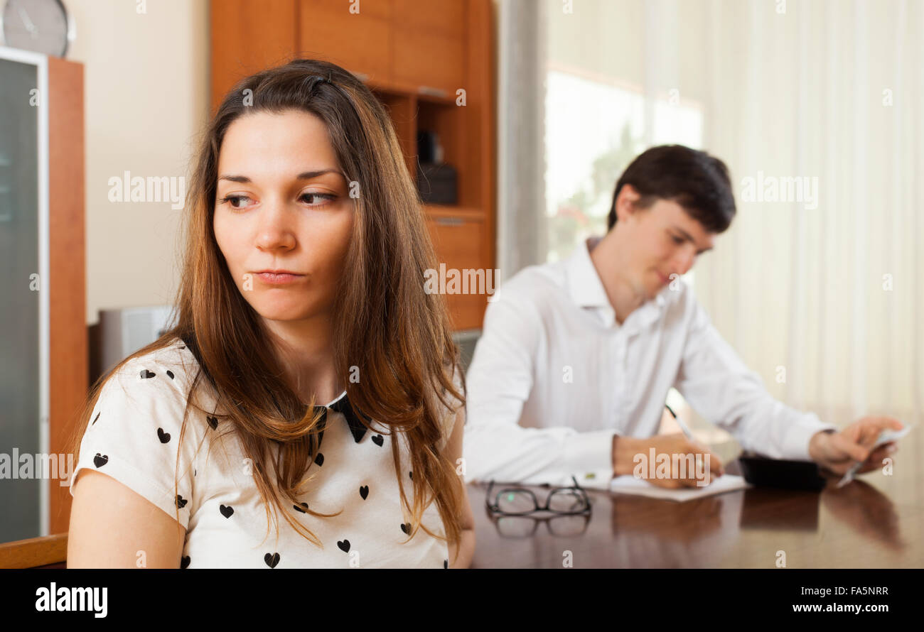 Quarrel in the young family over money Stock Photo