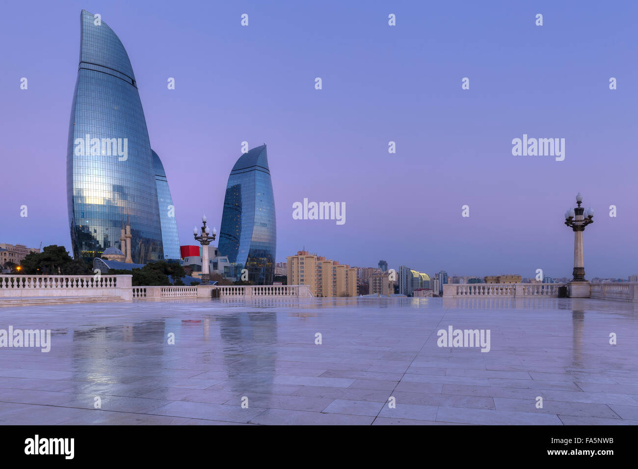 Flame Towers in Baku at sunrise.Azerbaijan Stock Photo