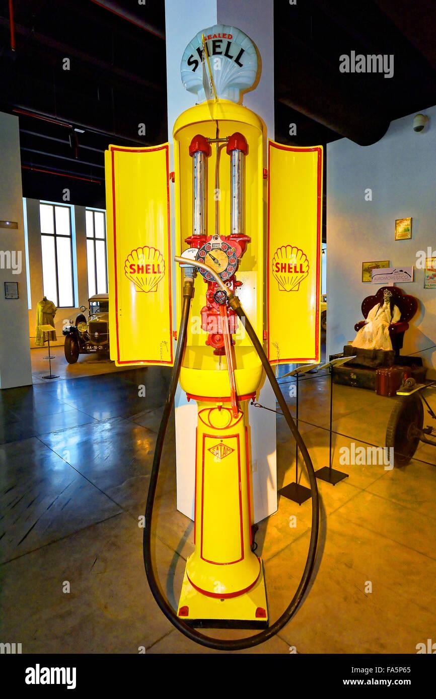 Malaga Spain Automovilistico De Malaga French hand petrol pump - Stock Image