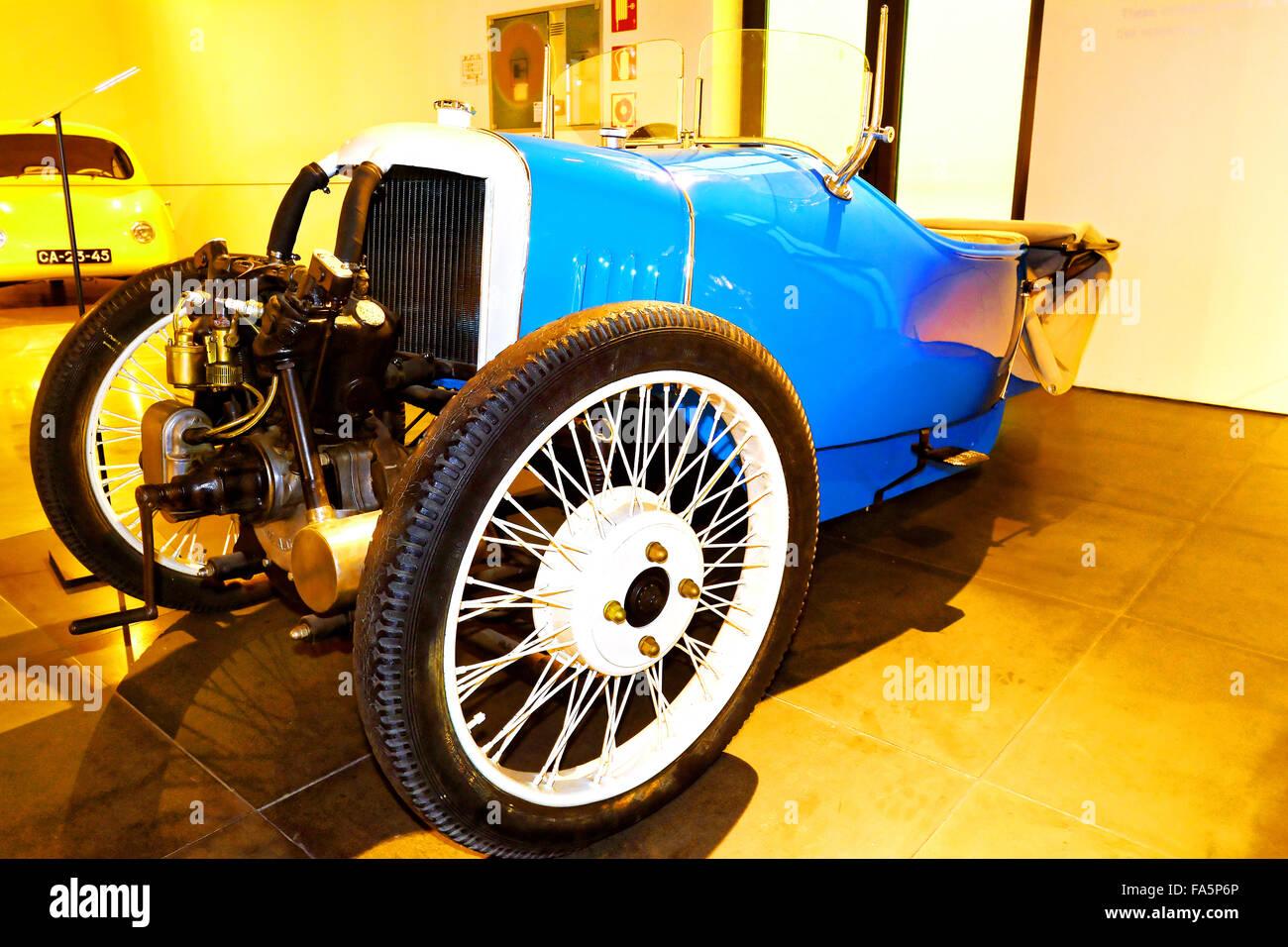 Malaga Spain Automovilistico De Malaga  Morgan Blue 3 wheeler - Stock Image
