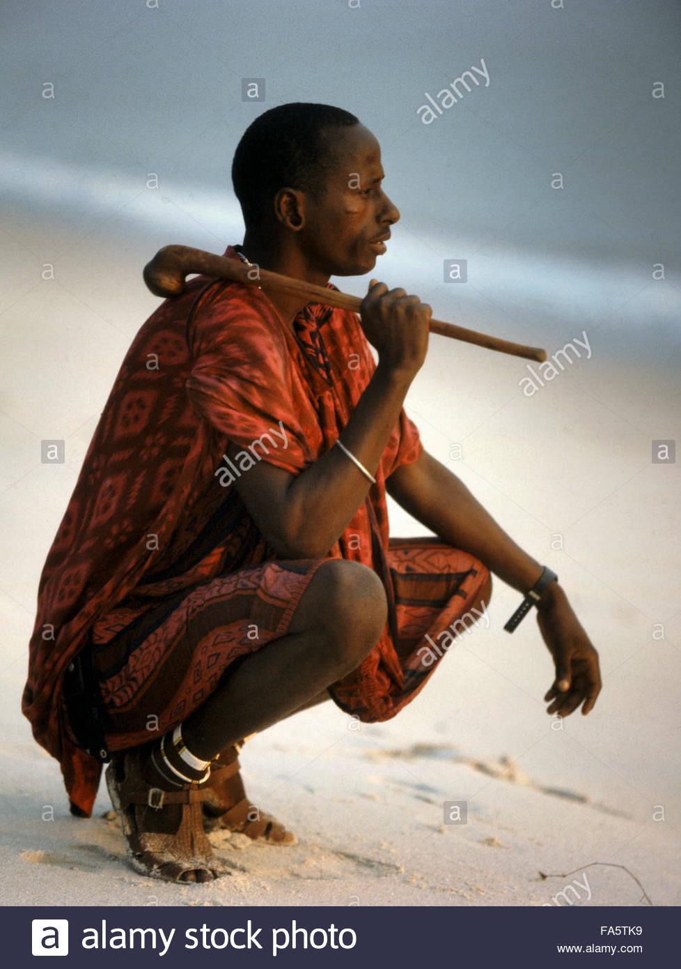 Masai Warrior With Rungu Weapon - Tanzania Africa 2000 Stock Photo