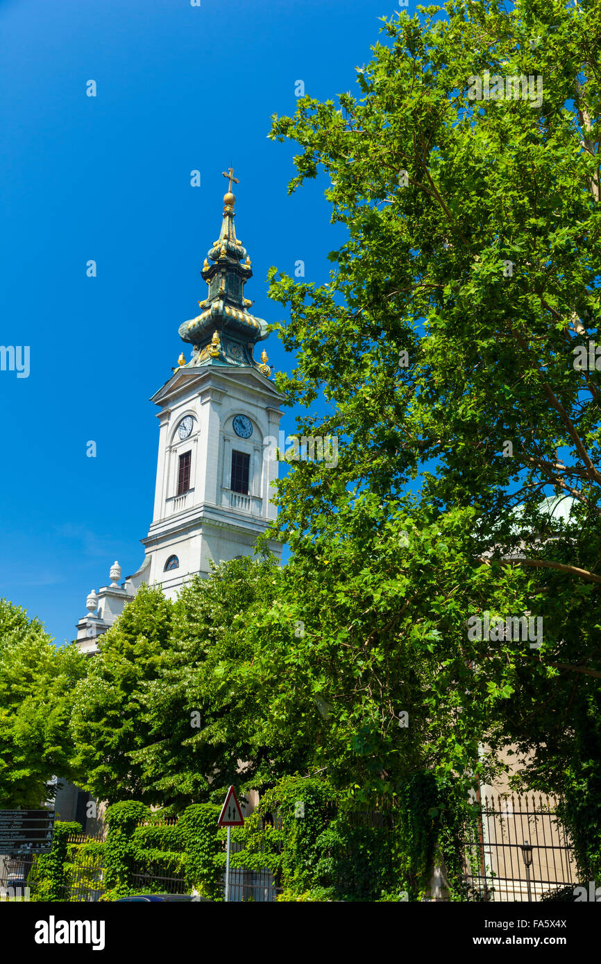 Tower of Orthodox cathedral (Saborna crkva) in Belgrade, Serbia - Stock Image