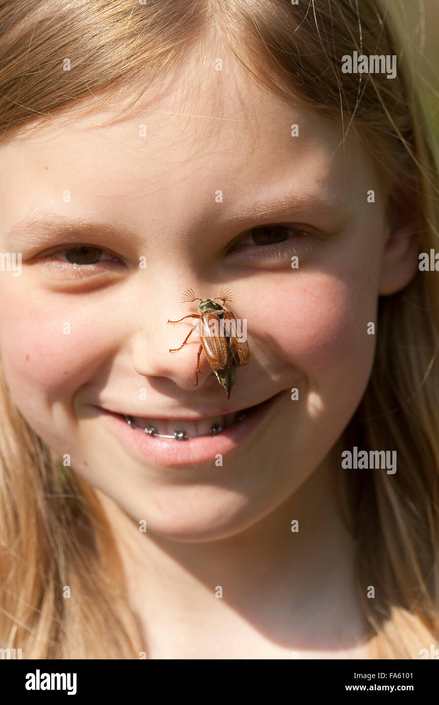 Maybeetle, common cockchafer, maybug, girl, child, Maikäfer, Feld-Maikäfer, Feldmaikäfer, Melolontha melolontha, Mädchen, Kind Stock Photo