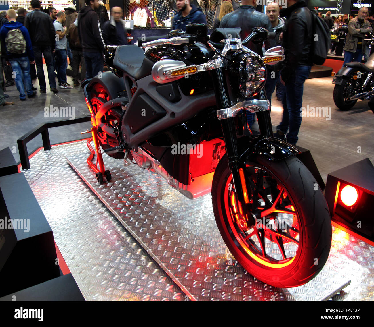 Harley-Davidson LiveWire electric motorcycle,USA, in Paris Motorcycle Show, France - Stock Image
