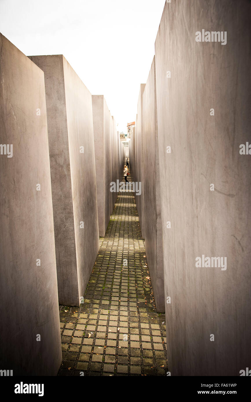 Memorial to the murdered Jews of Europe Berlin Holocaust memorial for Germany field of stelae - Stock Image
