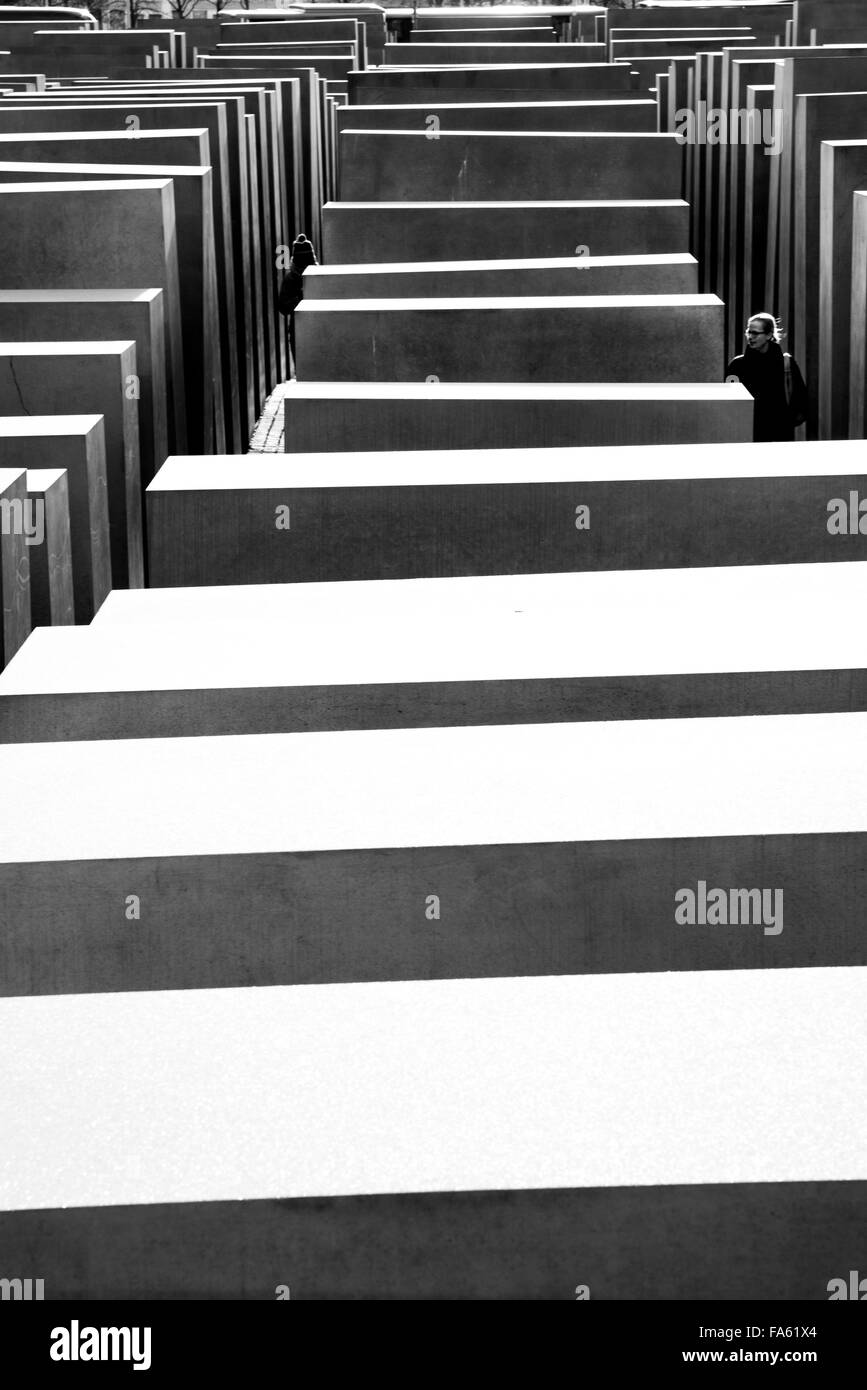 Memorial to the murdered Jews of Europe Berlin - Stock Image