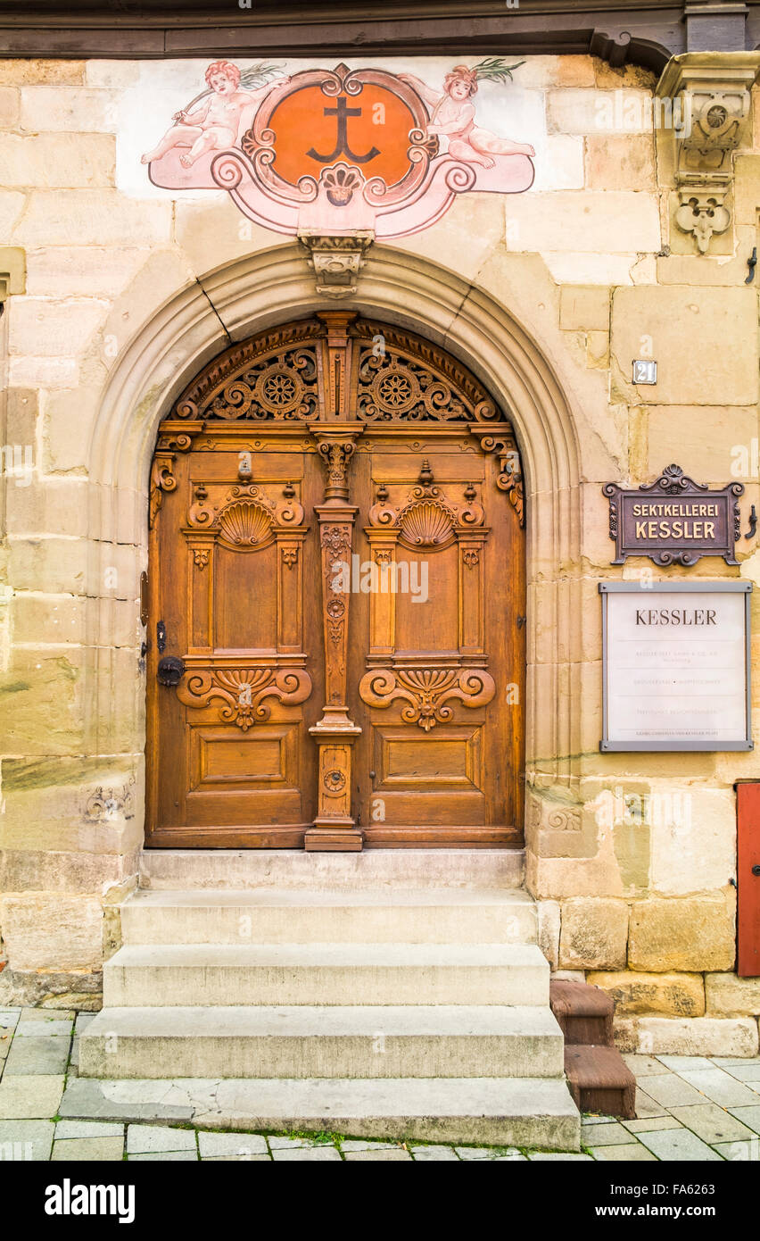 entrance of sparkling wine manufacturer sektkellerei kessler in the historic speyrer pfleghof building, esslingen, - Stock Image