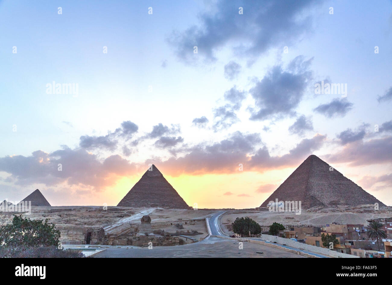 Sunset, The Pyramids of Giza, UNESCO World Heritage Site, Giza, Egypt - Stock Image