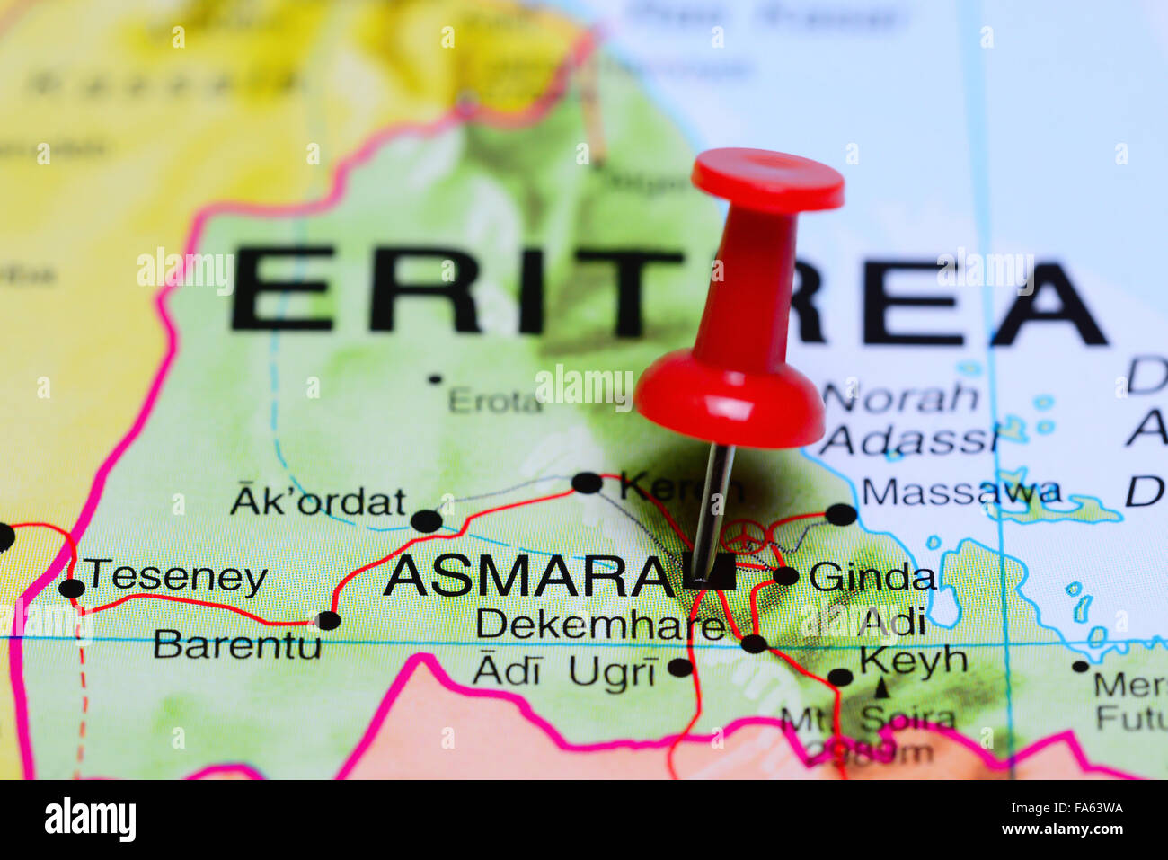 Asmara pinned on a map of africa stock photo 92333174 alamy asmara pinned on a map of africa ccuart Images