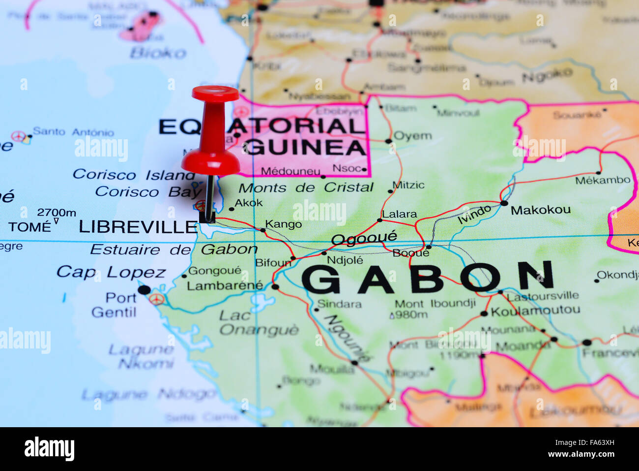Libreville pinned on a map of Africa Stock Photo 92333209 Alamy