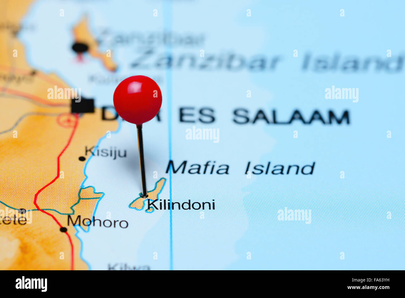 Kilindoni pinned on a map of Africa - Stock Image