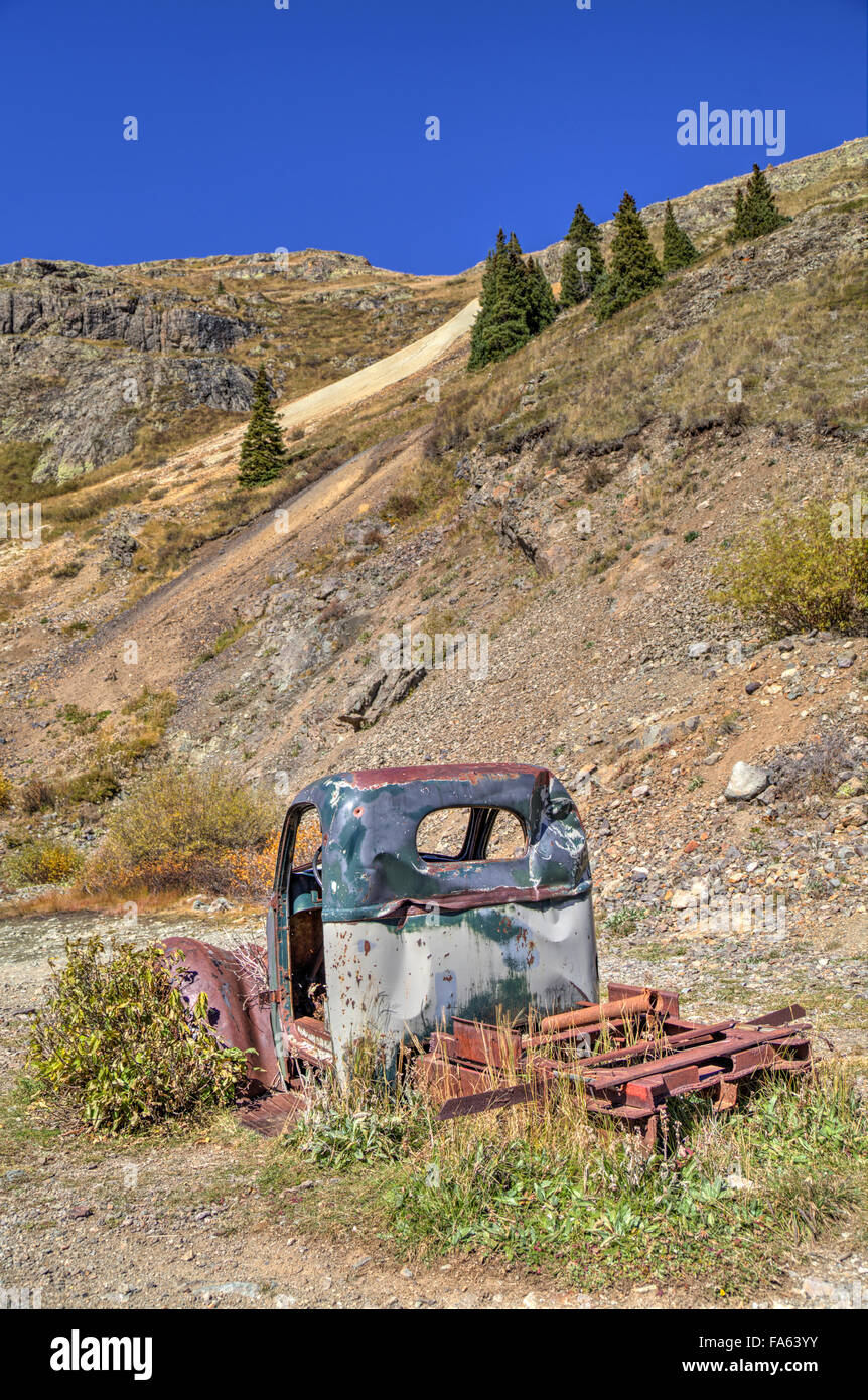 Abandoned Truck, Animas Forks Mine ruins, Animas Forks, Colorado, USA - Stock Image