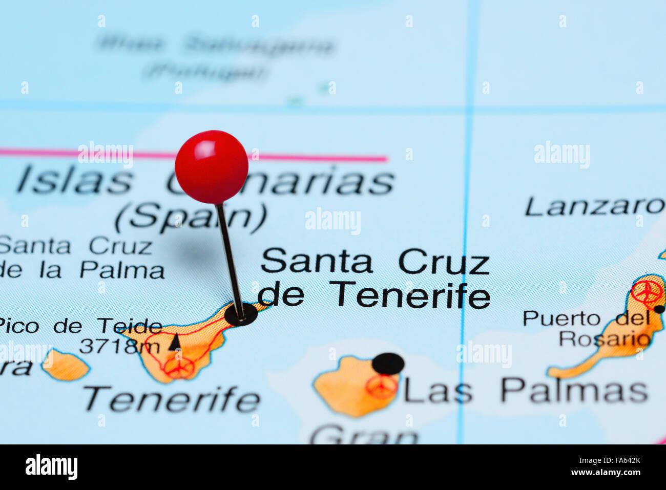Santa Cruz De Tenerife Pinned On A Map Of Africa Stock Photo