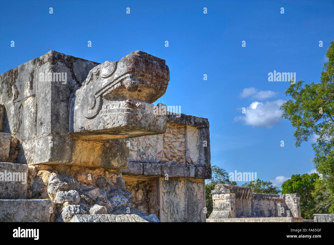 Platform of the Eagles and Jaguars, Chichen Itza, UNESCO World Heritage Site, Yucatan, Mexico - Stock Image