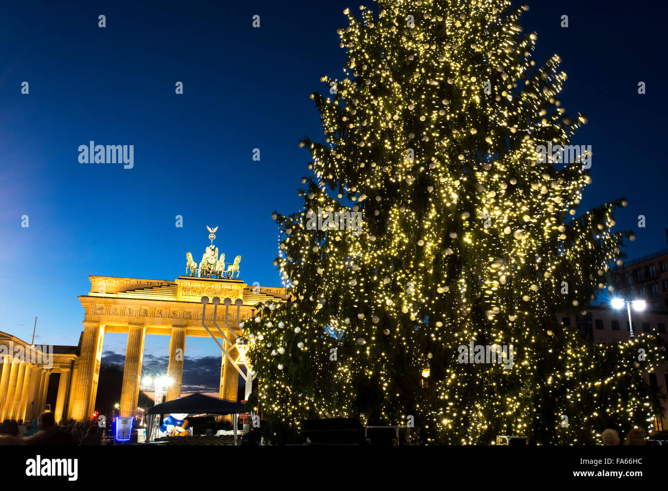 Christmas Tree at Brandenburg Gate Brandenburger Tor Berlin Germany - Stock Image