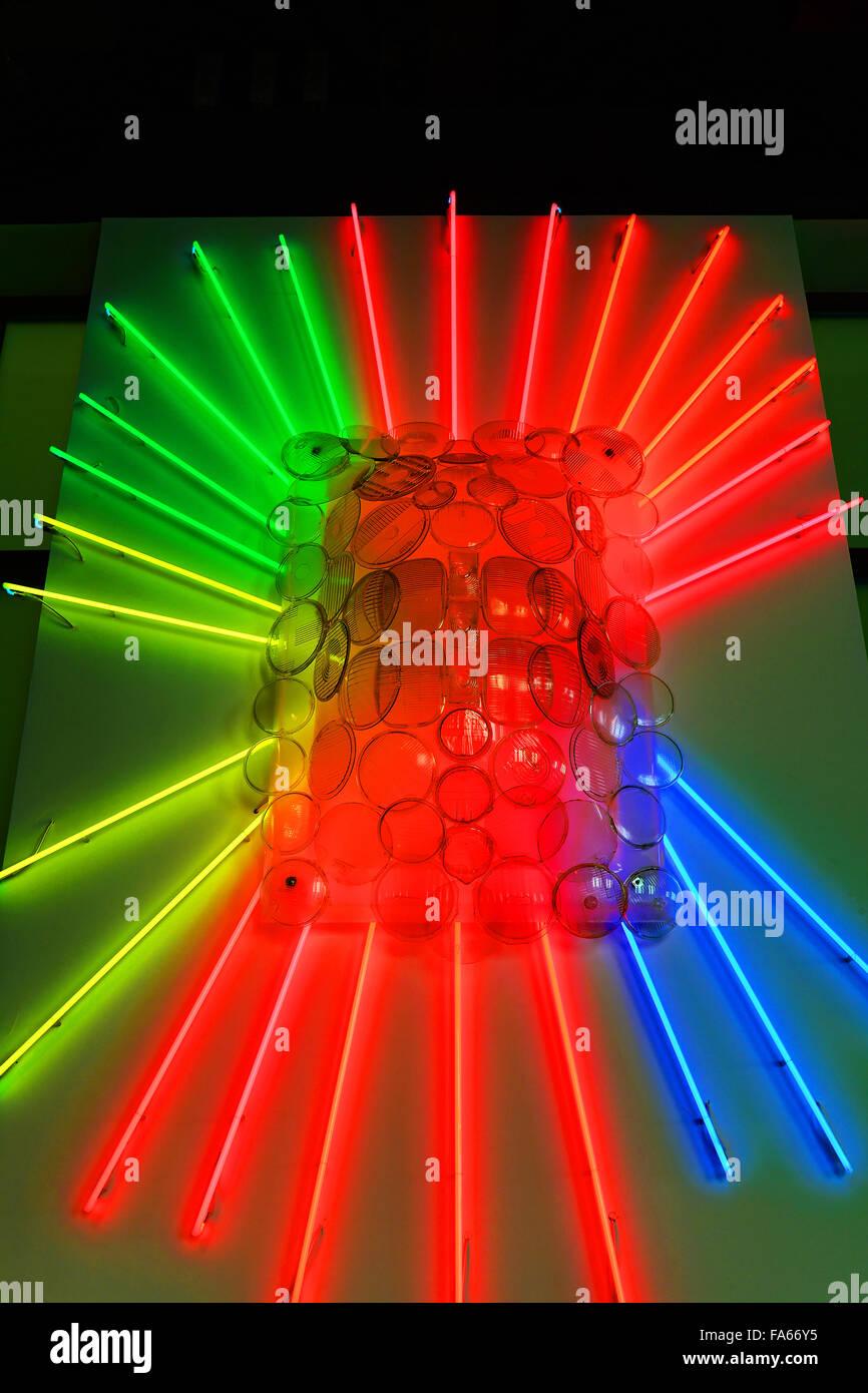 Malaga Spain Automovilistico De Malaga front lamp lenses - Stock Image