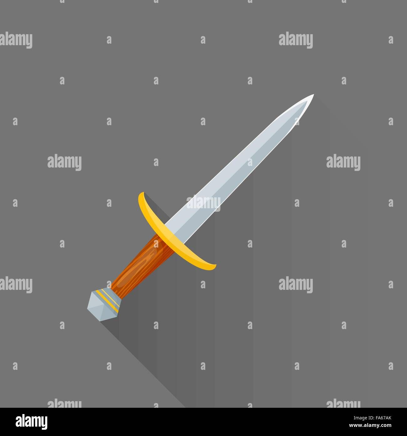 vector colored flat design metal sharp blade battle dagger wood handle isolated illustration gray background long - Stock Vector