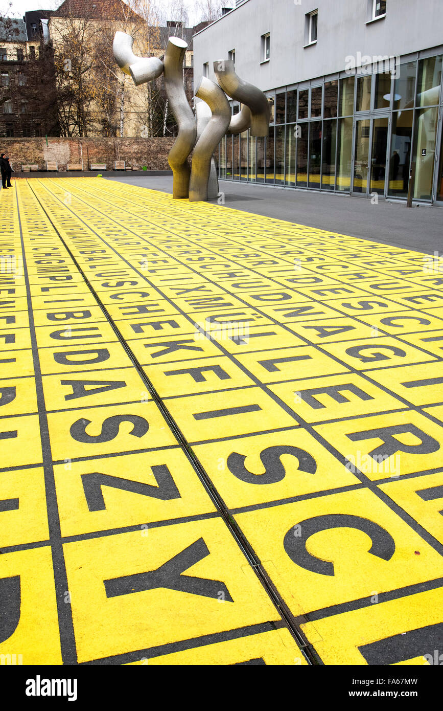 Yellow field of letters Berlinische Galerie Berlin  Marking for glass warehouse Germany - Stock Image
