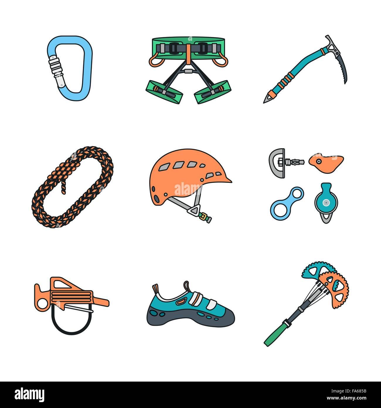 Vector Colored Outline Various Climbing Gear Carabiner Harness Helmet Stock Vector Image Art Alamy