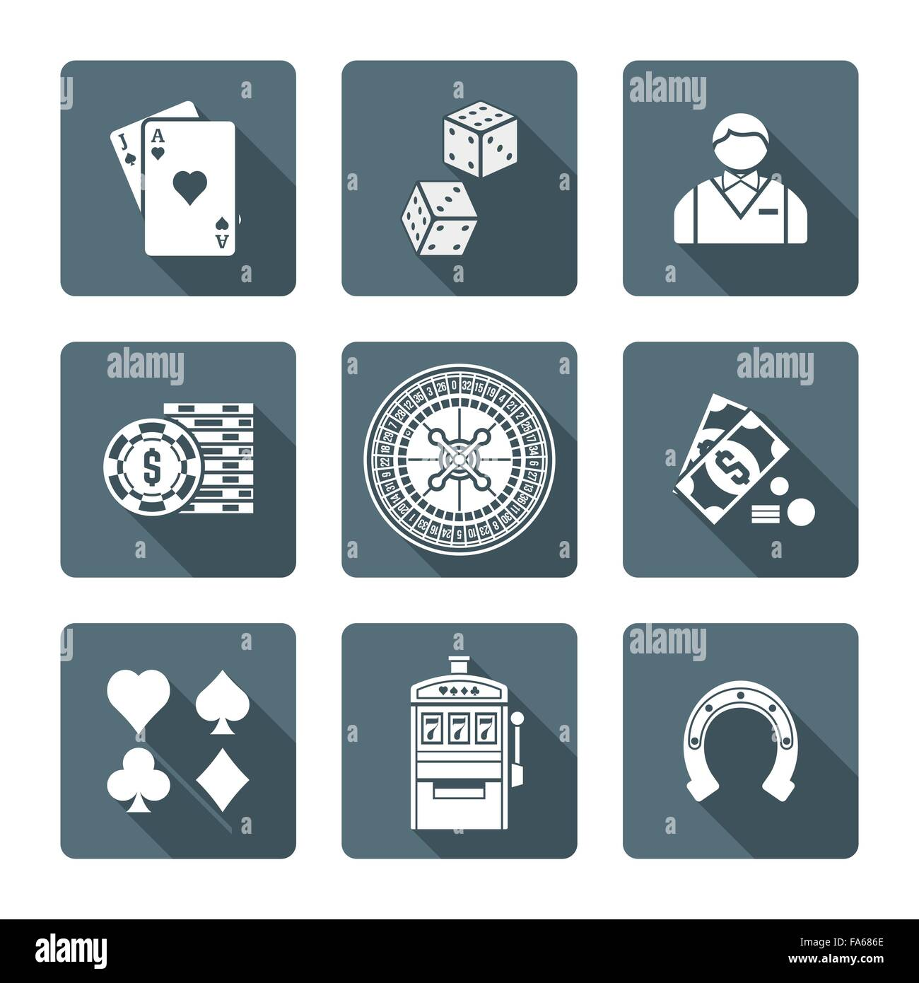 Vector Monochrome White Color Flat Design Various Gambling Signs
