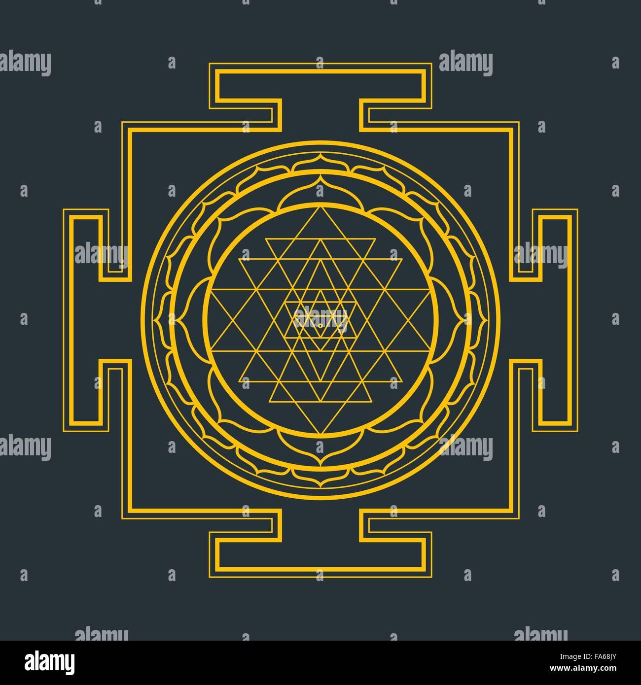 vector gold outline hinduism sri yantra sri chakra illustration triangles FA68JY vector gold outline hinduism sri yantra sri chakra illustration