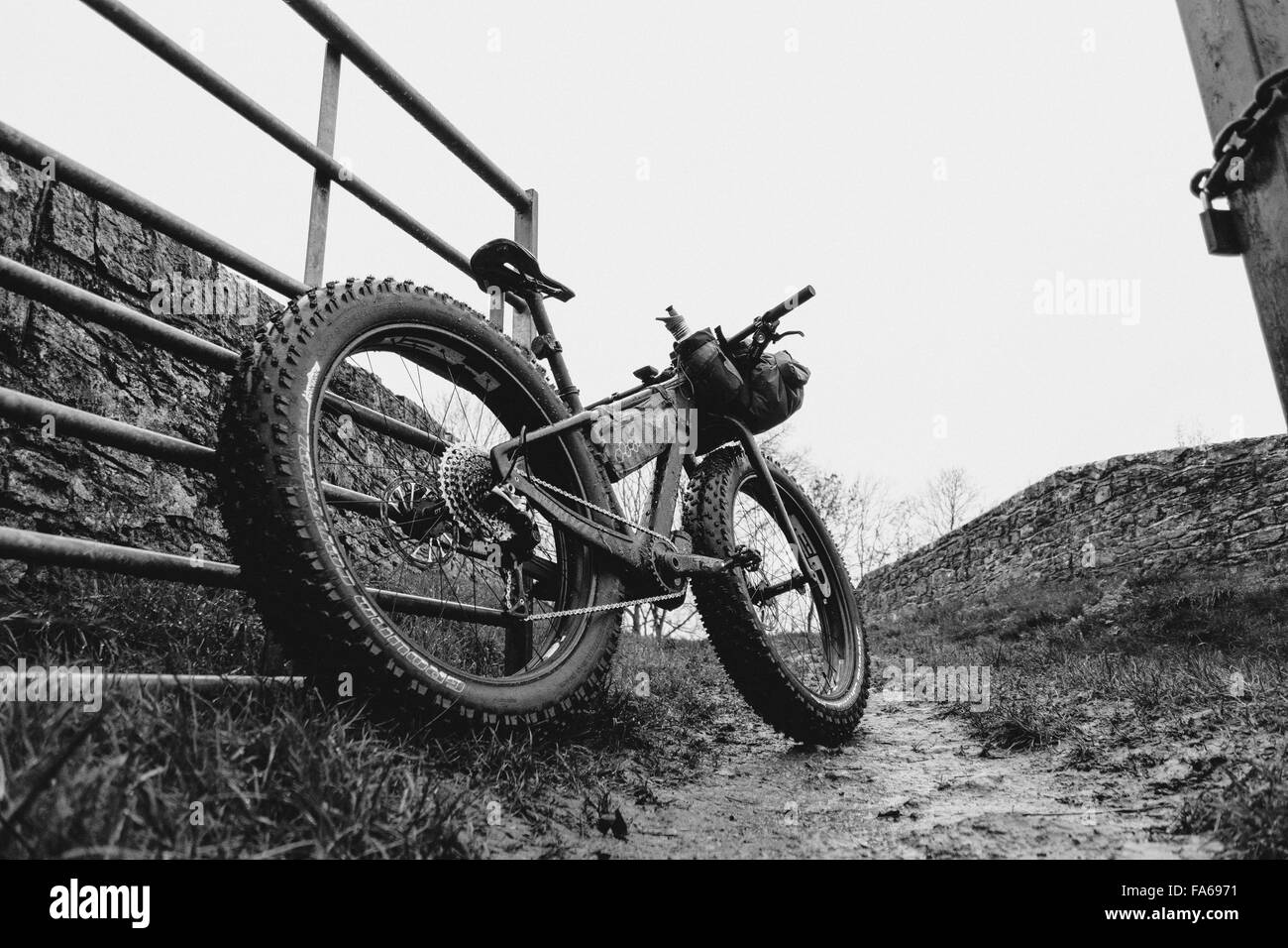 A Fat Bike parked in the countryside - Stock Image