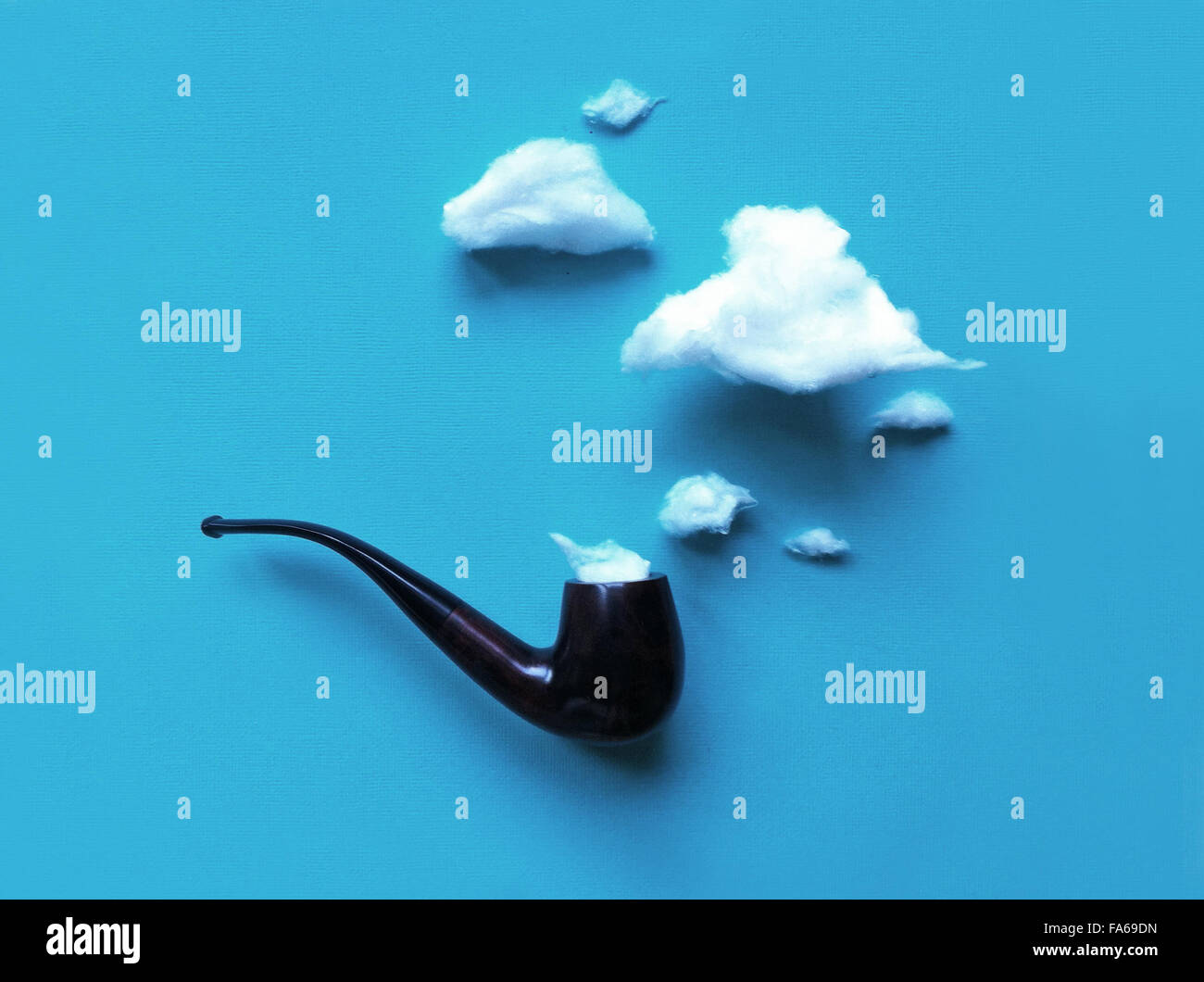 Conceptual smoke coming out of a pipe - Stock Image